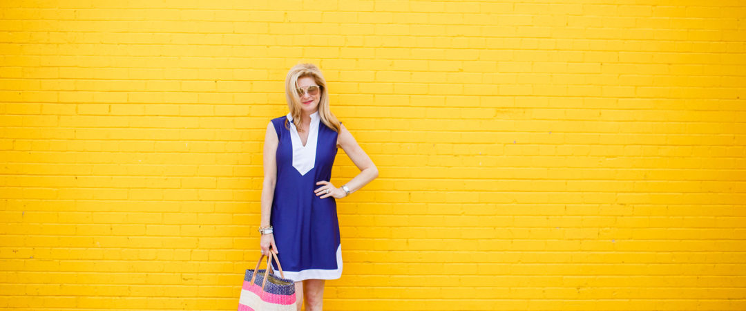 Jude Connally dress, Sam Edelman sandals, straw bag, tanyafoster.com