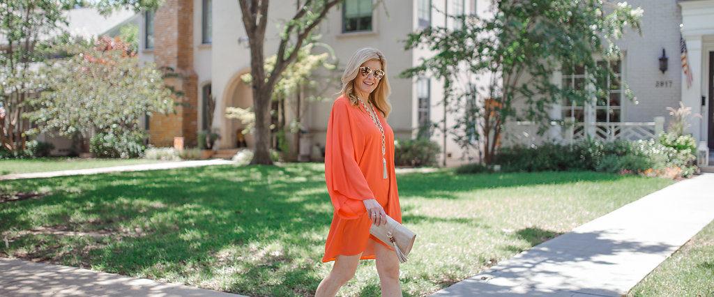 Elaine Turner Laney dress, Tanya Foster, orange dress, sale