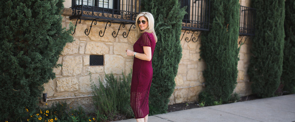 Kendall and Kylie laser cut dress, TanyaFoster.com, Neiman Marcus, wine color, Dallas Fashion Blogger