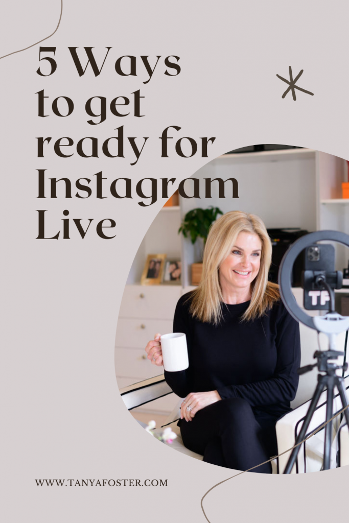 5 ways to get ready for instagram live Tanya foster wearing Lou & Grey signature softblend sweatshirt and sweatpants holding a coffee cup