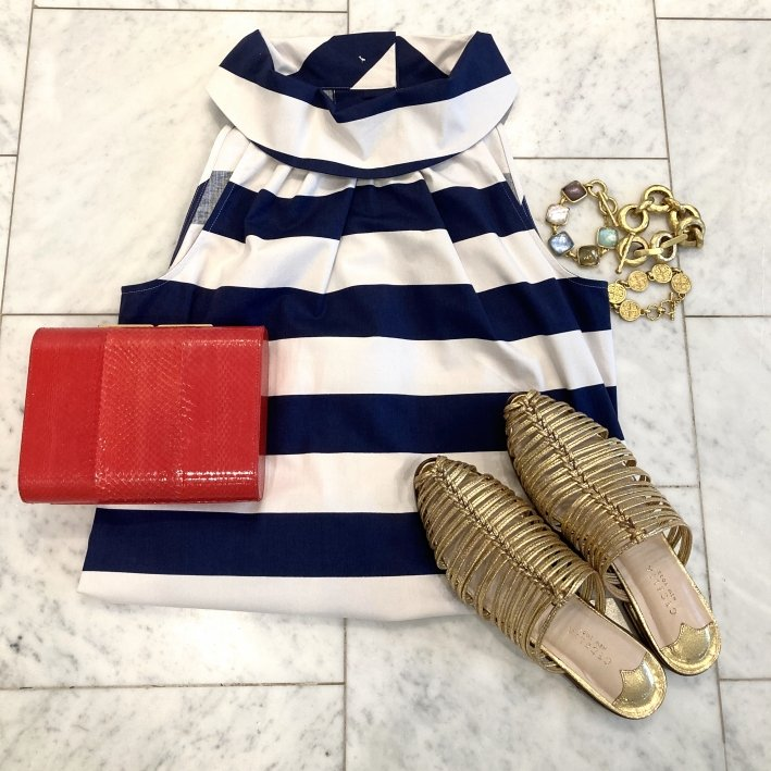 sail to sable striped dress ODP clutch julie vos bracelets and cecelia NY sandals