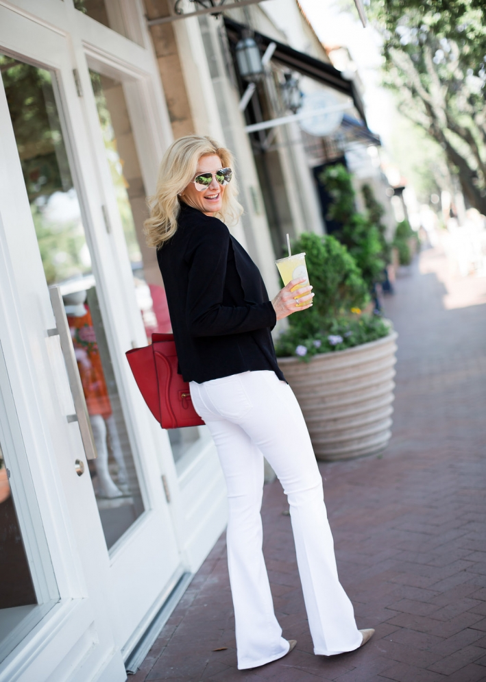 631f24f4ac986 Chico's black travelers collection sweater with white Frame denim jeans