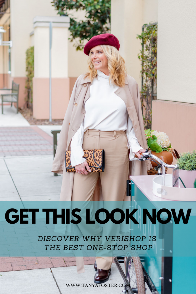 get this look now discover why verishop is the best one-stop shop Tanya foster wearing billie the label blouse trousers and trench coat