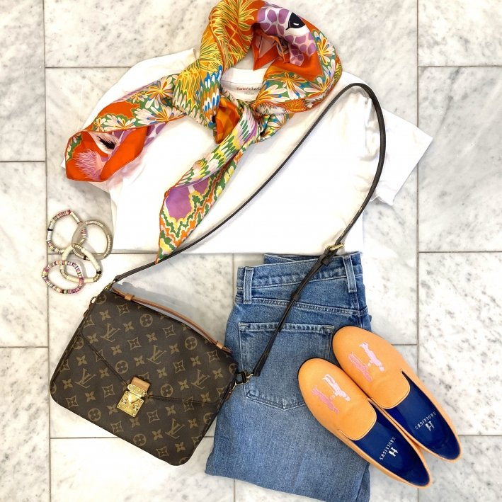 hermes scarf j brand jeans hadleighs womens slippers allie + bess bracelets louis vuitton bag and hanes crew neck shirt