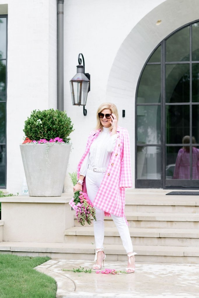 tanya foster in pink gingham talbots trench coat