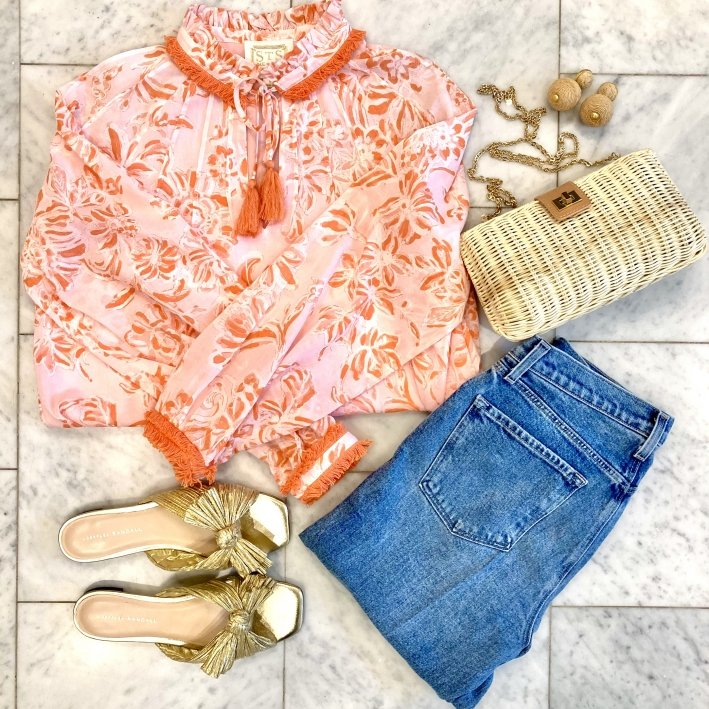 sail to sable blouse with daphne knot sandals j brand jeans tuckernuck clutch and tuckernuck earrings