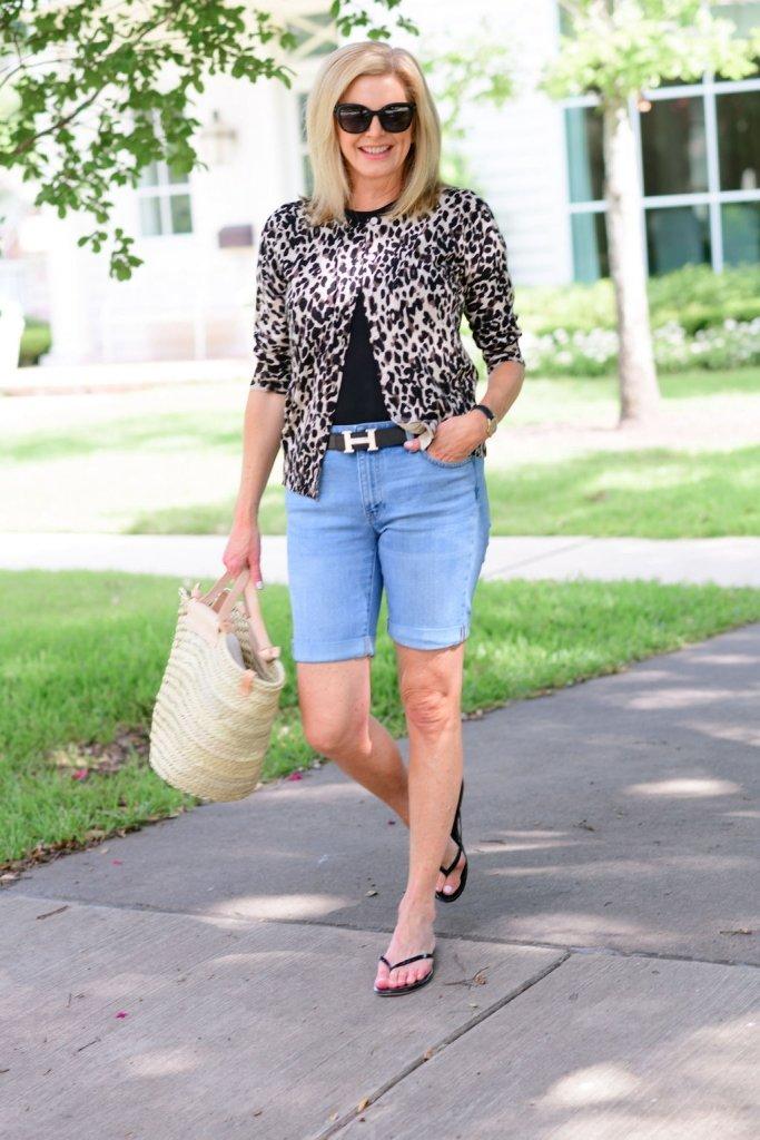 Tanya Foster in nordstrom animal print sweater black crew tee talbots girlfriend shorts mango bag and tkees flip flops