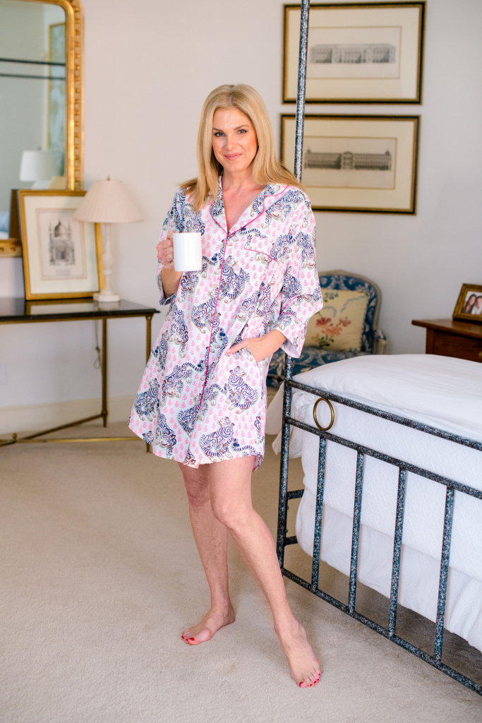 Tanya foster wearing print fresh tiger queen sleepshirt