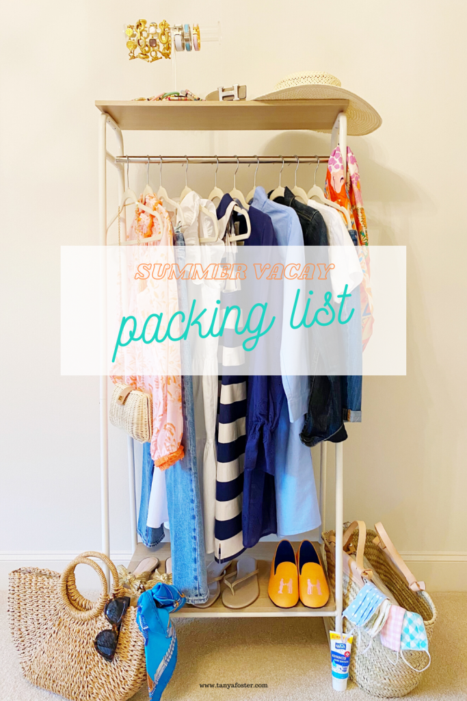 summer vacay packing list clothing rack of clothes and accessories and shoes
