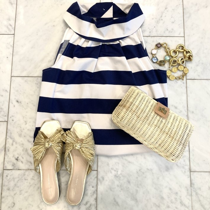 sail to sable striped dress with daphne gold sandals tuckernuck clutch and julie vos bracelets
