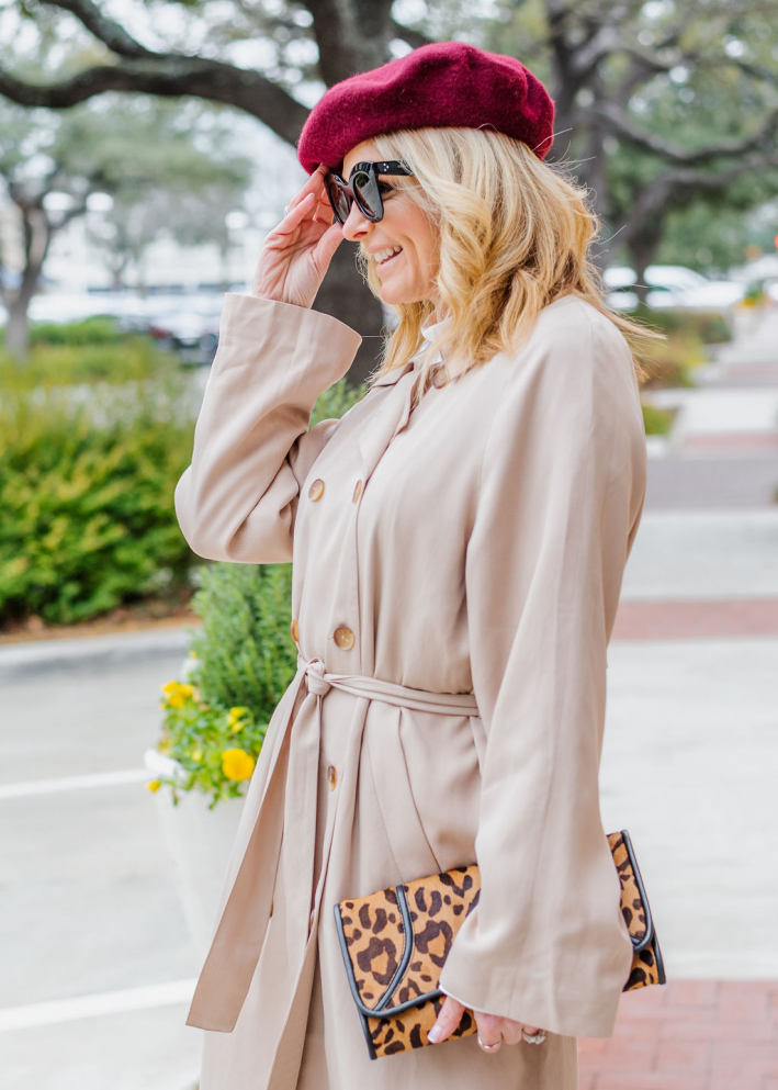 Tanya foster wearing billie the label blouse trousers and trench coat from verishop