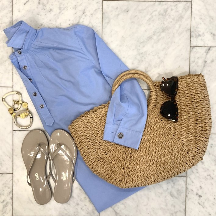 tuckernuck blue dress with straw beach bag tkees sandals tuckernuck sunglasses allie + bess bracelets and julie vos bracelets