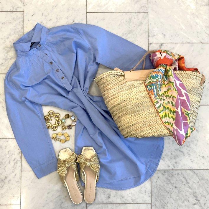 tuckernuck dress with daphne knot gold sandals julie vos bracelets and mango bag with hermes scarf